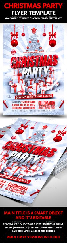 Christmas Party Flyer Template PSD #design #xmas Download: http://graphicriver.net/item/christmas-party-flyer-template/13443780?ref=ksioks