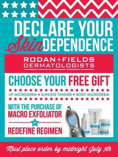 Celebrate the Fourth all the way through July 7th with this special offer! Become a Preferred Customer to receive a 10% discount on ALL R + F skincare products, FREE shipping and the BEST skin EVER!!! Message me for details on how to get started! https://swallace870.myrandf.com