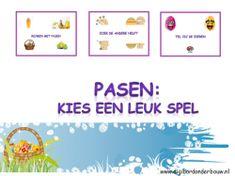Pasen: kies een leuk spel. 3 verschillende spelletjes voor het digibord of de computer. http://digibordonderbouw.nl/index.php/themas/pasen/algemeenpasen