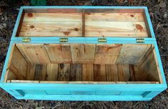 Turquoise Hope Chest / Toy Box Reclaimed by LooneyBinTradingCo, $225.00