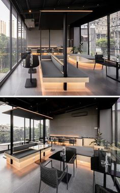 A Material Palette Of Warm Woods And Grey Elements Has Been Used To Create This Contemporary Coffee Shop Interior - Furniture Coffee Shop Interior Design, Coffee Shop Design, Restaurant Interior Design, Modern Restaurant, Showroom Interior Design, Bg Design, Cafe Design, Design Shop, Design Trends