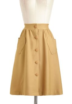 Tree-Tender Heart Skirt - Mid-length, Yellow, Solid, Buttons, Pockets, Cocktail