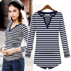 Navy & White Striped Shirt from Street Style Fashion