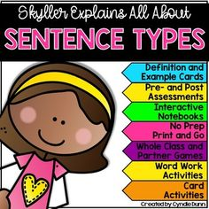 Sentence Types Activities: Sentence Types include statements, interrogative, and imperatives. Identifying different types of sentences and their correct ending punctuation is an essential part of the mechanics of writing. Different Types Of Sentences, Sentence Types, Homographs, Off Game, Word Work Activities, Compound Words, Prefixes, Pre And Post