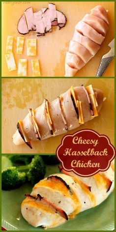 Cheesy Hasselback Chicken ~Frisky I bet you could also do with with ham and swiss cheese and make a quick and easy cordon bleu also http://wearychef.com/cheesy-hasselback-chicken/