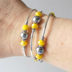 Gray and Yellow Bridesmaid Jewelry in Silver by FiveLittleGems
