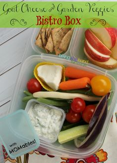An up-sized DIY Goat Cheese and Garden Veggie Bistro Box lunch from MOMables for school or work!