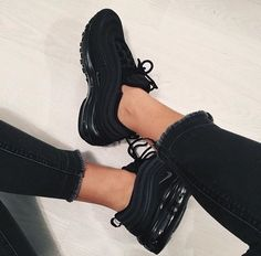 """NIKE Air Max 97 \""""Black\"""" // great all-black shoe for women! - Nike Sneaker NIKE Air Max 97 \""""Black\"""" // great all-black shoe for women! All Black Shoes, Gray Nike Shoes, Black Shoes Sneakers, Nike Air Shoes, Grey Nikes, Sneakers Fashion, Shoes Men, Boys Shoes, Adidas Black Sneakers"""