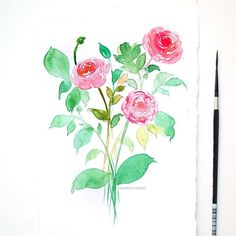 It's pretty common to paint peonies and roses but I simple love painting ranunculi. They're such pretty , dainty flowers. What is your favorite flower? #Inkstruck