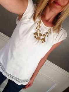 i love everything about this blouse Topanga Crochet Detail Flutter Sleeve Blouse