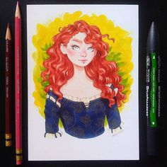 "10.8 mil Me gusta, 71 comentarios - Sara Tepes | 19 (@sarucatepes) en Instagram: ""Merida Process video for this drawing is up on my YouTube, link in my bio! * * * * #art #drawing…"""