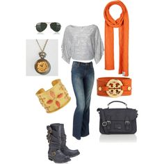 Fashionable casual weekend wear. Love the gray and orange.