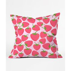 DENY Designs Lisa Argyropoulos Strawberry Sweet in Pink Throw Pillow ($20) ❤ liked on Polyvore featuring home, home decor, throw pillows, pink home decor, deny designs, deny designs throw pillows, deny designs home accessories and pink toss pillows