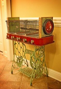 Repurposed Red Wagon Sewing Machine Base Storage Table