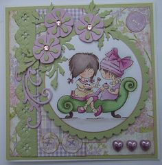ink'n'rubba: Marianne Design die cuts and Daisy Tea for Two stamp coloured with Copics. Papers from Nitwits