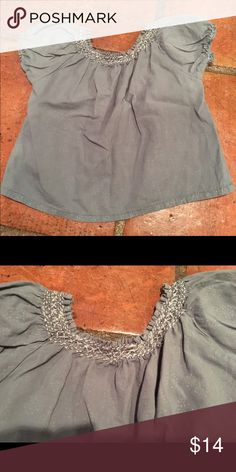 Peek Embroidered Blouse Washed grey cotton with light floral print and embroidery around neck. Elastic at neck and sleeves. Perfect condition, smoke and pet free home. Peek Shirts & Tops Blouses