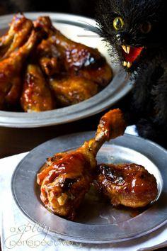 Sticky Spicy Baked Chicken Drumsticks |