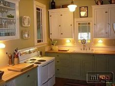 Different colored kitchen cabinets