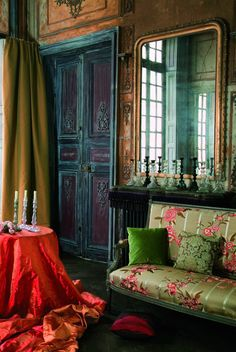 Great peacock  colors in this room, the door has fabulous colors (1) From: Unveil The Dream, please visit
