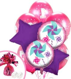 "Custom, Fun & Cool {Big Large 11""-18"" Inch} 10 Pack of Helium & Air Inflatable Mylar/Latex Balloons w/ Classic Girly Pinwheel Stars Design [in Purple, Pink & Blue] w/ Ribbon & Weight"