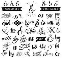 Ampersands et catchwords. Calligraphie manuscrite et caractères en métal stock vecteur libres de droits libre de droits