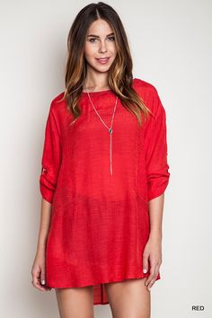 This red high collard shift tunic is adorable!!! Will ship in two weeks!! Sizes: Small, Medium and Large! #khakicotton #tunic #red #spring | Shop this product here: spreesy.com/khakicottonfashions/270 | Shop all of our products at http://spreesy.com/khakicottonfashions    | Pinterest selling powered by Spreesy.com