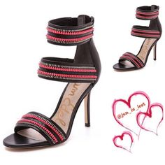 """Sale 'Alton' Sandal 8M Bold zippers put this eye-catching sandal a notch above the rest. With a slender stiletto and open-toe silhouette, this style will give your ensemble plenty of modern attitude. 4"""" heel  4 1/4"""" strap height. Back zip closure. Pattern placement may vary. Leather and/or genuine calf hair (China) upper/synthetic lining and sole.  NWT Sam Edelman Shoes"""