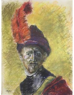 """A man with a feathered hat #1 - a variation on a Rembrandt theme(pastel and charcoal, 19"""" x 25"""", October 1, 2017)"""