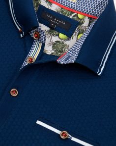 Textured polo shirt - Navy | Tops & T-shirts | Ted Baker ROW