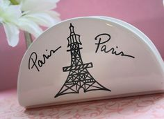 Paris Kitchen Accessory - Eiffel Tower Napkin Holder - White Ceramic Hand Painted with the Eiffel Tower. $16.00, via Etsy.