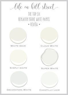 A Breakdown of the 6 Most Popular Benjamin Moore White Paints - Life on Hill St . - A Breakdown of the 6 Most Popular Benjamin Moore White Paints – Life on Hill St … - Best White Paint, White Paint Colors, Paint Colors For Home, White Paints, Wall Colors, House Colors, Gray Paint, Chalk Paint, Blanc Benjamin Moore