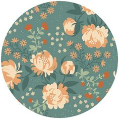 Teagan White for Birch Organic Fabrics, Acorn Trail, Peonies Blue