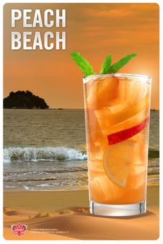 The Peach Beach - inspired by sandy shores. Ingredients: 1.5 fl oz SMIRNOFF® Peach Flavored Vodka, 2 fl oz Lemonade, 1 fl oz Ice Tea, 0.5 fl oz Simple Syrup, 2 leaves Mint. Combine all the ingredients in an ice filled shaker. Shake well. Strain into an ice filled glass. Garnish with lemon slices, peach wedges and mint.