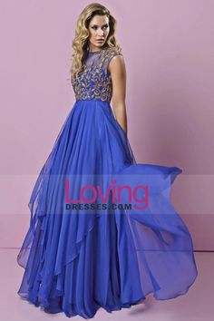 2015 Scoop Prom Dress With Golden Beads And Embroidery Pick Up Layered Chiffon Skirt