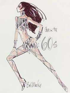 A costume design by Bob Mackie for Cher, felt pen and watercolor on paper, signed. The design created for Cher for a Vogue Magazine photo shoot portraying the 1960's, showing Cher wearing a two-piece mirrored costume with full leg strapping and large mirrored earrings -- 19x14½in. (48x37cm.)