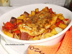 Cinco sentidos na cozinha: Bacalhau fresco no forno em cama de legumes assado...