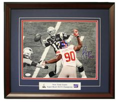 Jason Pierre-Paul in Super Bowl 46, framed 11x14 autographed photo.