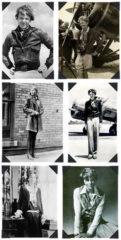 bomber + trench + flight hat--Amelia Earhart