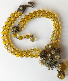 Vintage Signed Miriam Haskell Gold-Tone Beaded Frank Hess Design Necklace, c1940 #MiriamHaskell