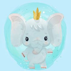 Baby elephant cute character painted with watercolor Watercolor Drawing, Watercolor Animals, Watercolor Paintings, Baby Animal Nursery, Baby Animals, Cute Animals, Cartoon Drawings, Cartoon Art, Cute Cartoon