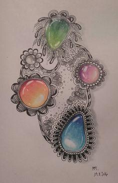 #zentangle #zengem Primera prueba, aprendiendo a hacer gemas zentangle