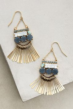Meteor Shower Chandelier Earrings - anthropologie.com | dangling earrings | turquoise | hanging earrings | cut stones | unique