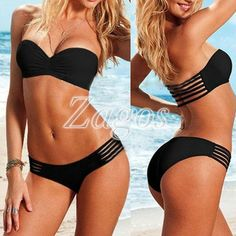Fashion Sexy Strapless Padded Push Up Bra Bikini Set Swimwear Swimsuit Beachwear BK0009