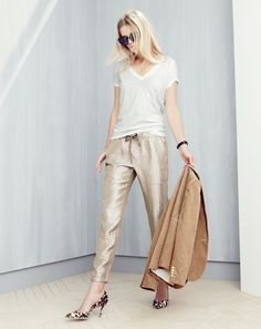 J.Crew women's vintage cotton V-neck tee, washed lamé pull-on pant, Cutler and Gross® 1112 sunglasses, Campbell blazer in corduroy and Collection Colette calf hair d'Orsay kitten heels. To pre-order, call 800 261 7422 or email verypersonalstylist@jcrew.com.