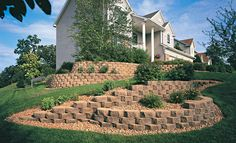 A few Pavestone Anchor™ Diamond® Retaining Walls are a great way to add landscaping to a sloping front yard