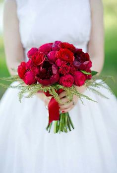 Beautiful Red Peonies, Red Roses, Red English Garden Roses, Green Fern, Hand Tied With A Red Satin Ribbon................................................