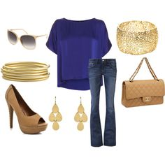 Blue attire accented with gold accessories.