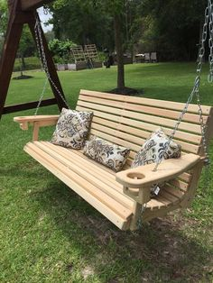 porch paint ideas Cypress Porch Swing (Hand-Made in Louisiana) - Shipping to United States Only! Porch Swing w/ chain set is from hook to hook.made from Kiln Dried Select Lo Wooden Pallets, Wooden Diy, Garden Furniture, Outdoor Furniture, Outdoor Decor, Furniture Ideas, Rustic Furniture, Modern Furniture, Outdoor Seating
