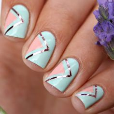 Preen.Me #nailartist Romana V goes modishly chic with her creamy minty geometric mani. Take a quick peek at her must-haves here.