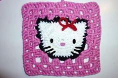 How to Crochet * Hello Kitty Granny Square : Knitaholics.com * Knitters of the World, Unite!